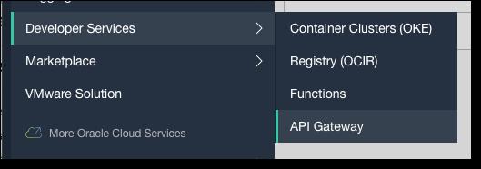 API Gateway Menu